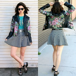 Lexi L - Vintage Concepts Floral Leather Jacket, Abound Teal Tank, Houndstooth Skirt, Dr. Martens Silver Oxfords, Deco Belt, Black Sunnies - Crush The Flowers