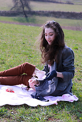 Veronika Lipar - Stuart Weitzman Brown Otk Boots, Storets Blue Tweed Skirt - Fashion Story of Blue and Brown Picnic