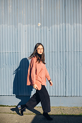 Elizabeth Jin - Cos Corduroy Trousers, Mm6 Velvet Boots, Cos Shirt, Mansur Gavriel Suede Clutch - Pink, Navy and Baby Blue