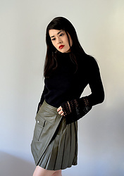 Tingette - Asos Jumper With Lace Bell Sleeves, Asos Leather Skirt With Pleated Sides - AsSeenOnMe