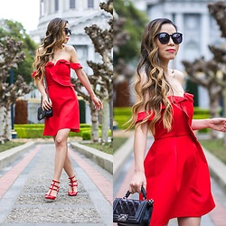Sasa Zoe - Dress, Earrings, Shoes, Bag, Sunglasses - LITTLE RED DRESS
