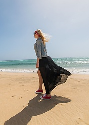 Tijana J.D - Primark Red Bandana, Mango Denim Jacket, Choies Black Maxi Dress, Converse Red Sneakers - Fuerteventura #3: Is it a mirage?