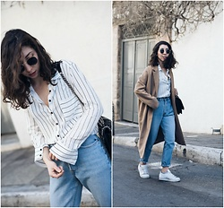 Theoni Argyropoulou - Striped Shirt, Zara Shoulder Bag, Pull & Bear Sunglasses, Levi's® Mom Jeans, Adidas White Sneakers - Give into Stripes on somethingvogue.com