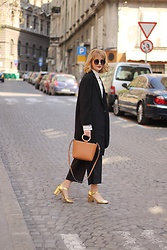 Ana Vukosavljevic - Mango Bag, Kurt Geiger Shoes, Zaful Coat, Yoins Blouse, Asos Sunglasses - The Black Suit With A Twist