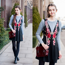 Christina & Karina Vartanovy - Zaful Grey Ribbed Peplum Sweater, Gamiss Black V Neck Floral Applique Dress, The Leather Satchel Company Oxblood Mini, Bershka Black Lace Up Ankle Boots - Karina // darker side