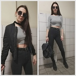Klaudia - Bershka Bomber Jacket, New Look Crop Top, H&M Pants, H&M Boots, New Look Backpack, Pull&Bear Sunnies -  n e t h e r w o r l d