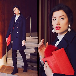 Natasha Karpova - Fashionmia Navy Coat, Zara High Knee Boots, Next Red Clutch, Earrings, Shein Romantic White Blouse - 3rd look from Milan