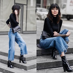 Amber - Dres Van Noten Fishnet Top, Red Valentino Scallop Hem Jeans, Tony Bianco Black Patent Leather Booties, Philip Lim Alix Bag - Doing something different with fishnets