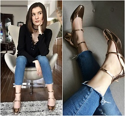 Aleksa Goldfield Rodrigues - Gap Cropped Jeans, Zara Gold Block Heels, Aritzia Laced Up Blouse, Zara Gold Medallion Choker - Statement Shoes