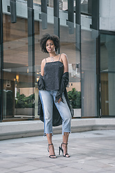 Aicha R. - Fashion Nova Black Heel, Backstage Clothing Sparkle Top, Zara Cropped Jean - Sparkle On