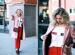 Margarita Maslova - Zara Coat, Rebecca Minkoff Bag, Reserved T Shirt - RED & PINK