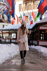 Mary Ryabich - Made By My Mom Hat, Zaful Nude Coat, Guess Purse, H&M Jeggins, Saucony Sneakers - Zaful Nude Coat