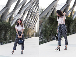 Vivi Valenzuela - Asos Striped Trousers, H&M Pink Basic Tee, Basement Eyelet Sandals - NAVY&PINK