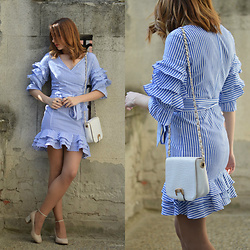 Monika Tremski - Shein Dress, Dressin Bag, Deichmann Shoes - Blue and white striped ruffle dress
