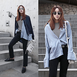 Rekay Style - Gentle Monster Love Punch Mirror Sunglass, By The Way. Bomber Jacket, &Other Stories Stripe Top, Mink Pink Wide Cuff Shirts, Proenza Schouler Ps1 Mini Bag, Mother Boot Cut Jeans, Steve Madden Mules, Lovers + Friends Western Belt - Light Layers