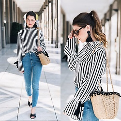 Stephanie Van Klev - Mango Earrings, Zara Basket Bag, Zara Top, Zara Skinny Jeans, Zara Flats - Stripes :: Statement Sleeves & Earrings