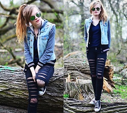 Karolina N. - Zaful Baseball Blouse, No Name Ripped Jeans, New Yorker Jeans Vest, M&Co T Shirt, Deezee Trainers - REBEL