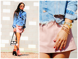 Nekane Smith - Louis Vuitton Bag, Zara Jacket, Michael Kors Watch - Denim Laced Jacket