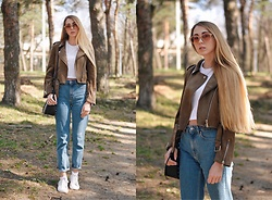 Lisa - Zaful Jacket, Zara Jeans - Brown jacket and mom jeans