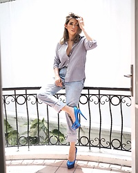 Cindy Karmoko - Monochrome Collection Shirt, Charlotte Olympia Blue Heels - Blue hue