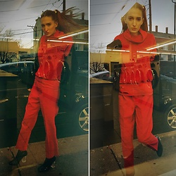 Liz Harvey - Vintage Red Velvet Cowlneck, Vintage Red Trousers, Diy Red Distressed Tee, Black Patent Booties Lucite Heel, Liz Baker Oversized Vintage Sweater - Red on Red