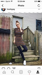 Liz Harvey - Charlotte Russe Striped Dress, Navy Tights, Adidas Super Stars - Rainbow