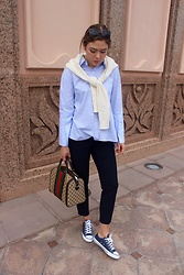Marlena Laura @marlenalaura - Zara Shirt, Zara Navy Pants, Converse Shoes, Gucci Bag, Polo Ralph Lauren Cardigan - Oversized shirt