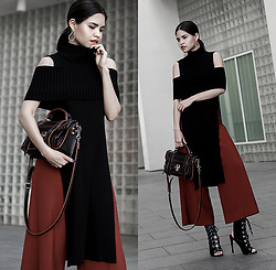 Adriana Gastélum - Aq/Aq Off Shoulder Knit, Proenza Schouler Ps1 Bag, Public Desire Lace Up Booties, More Outfits On - Escalated