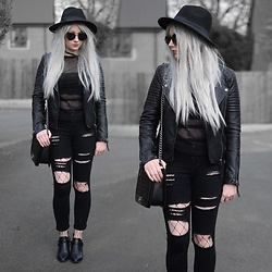 Sammi Jackson - Primark Fedora, Zaful Sunglasses, Topshop Biker Jacket, Depop Mesh Top, Oasap Quilted Bag, Choies Ripped Jeans, Choies Fishnets, Wholesale 7 Buckled Boots - BLACK MESH & FISHNETS
