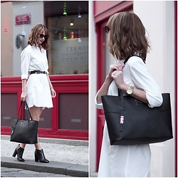 Anastasiia G - Asos Shirt Dress, Sam Edelman Boots, Just Cavalli Sunglasses - HOW TO WEAR A SHIRT DRESS