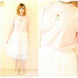 Rachel-Marie - Unbranded Tattoo Choker, Romwe Pink Rose Embroidered T Shirt, Romwe White Lace Overlay Elastic Waist Skirt, Unbranded Pink Rivet Flats - A Pastel Feeling