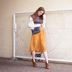 Sonja Vogel - Topshop Retro Striped Turtle Neck Top, Diy Yellow Culottes, Zara Ankle Boots, Primark Polka Dot Satchel Bag, Primark White Knitted Cardigan - Me Made Culottes