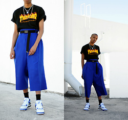 Dominic Grizzelle - Thrift Thrifted Trouser Shorts, Air Jordan Motor Sports, Thrasher Tee - Be Humble