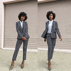 Marquise C Brown - Banana Republic Gingham One Button Blazer, Banana Republic Avery Fit Gingham Pant, Enzo Angiolini Patent Leather Pumps - Gingham Style