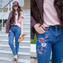 Diyora Beta - Zaful Baseball Cap, Shein Embroidery Jeans, T Shirt - HOW I STYLE JEANS WITH EMBROIDERY