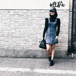 Cassey Cakes - Mango Denim Dungarees, Adidas Sneakers - Black and Denim
