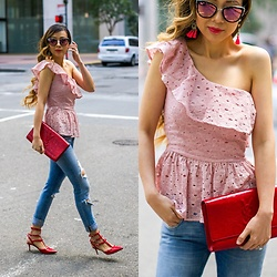 Sasa Zoe - Top, Jeans, Earrings, Sunglasses, Bag, Heels - ONE SHOULDER PEPLUM