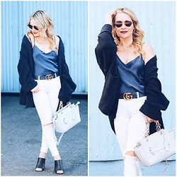 Zia Domic - Yummie By Heather T Blue Silk Camisole, Free People Cardigan - White Denim, Blue Silk