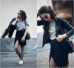 Theoni Argyropoulou - Sunglasses, H&M Two Pack Neclaces, Grey T Shirt, Pull & Bear Leather Jacket, Zara Shoulder Bag, Wrap Skirt, Fishnets, Adidas Sneakers - Day to Night Outfit on somethingvogue.com