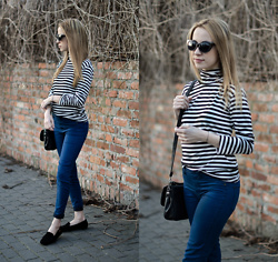 Martyna Piotrowska - Romwe Turtleneck, Nessi Shoes Moccasins - Parisienne stripes.