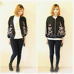 Rachel-Marie - Unbranded Tattoo Choker, Romwe Black Flower Embroidered Ribbed Trim Bomber Jacket, Unbranded White Funny Llama T Shirt, Unbranded Black High Rise Skinny Jeans, Unbranded Black Lace Up Martin Boots - No Prob-Llama