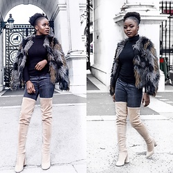 Abimbola Ogunsanya - H&M Faux Fur, Public Desire Knee Boots, Primark Top, New Look Jeans - BAD OR BOUJEE ?