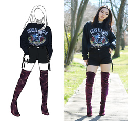 Yonish - Urban Outfitters Rockband Sweater, Chic Me Lace Up Denim Shorts, Asos Velvet Burgundy Thigh High Boots - Lace up and Velvet