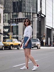 Elizabeth Strecher - H&M Blouse, American Apparel Skirt, Vince Sneakers - Look Both Ways