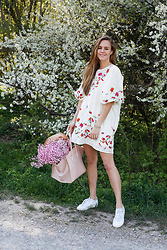 Mina T - Zara Floral Dress, Adidas Leather Sneakers - Flower Romance