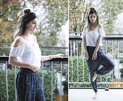 Kassy D - Forever 21 Off The Shoulder Top, H&M Harem Pants - April Showers