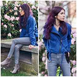 Maria P - Aliexpress Blue Suede Biker Jacket, Topshop Grey Skinny Jeans, Pretty Small Shoes Grey Suede Ankle Boots, Aliexpress Mirrored Sunglasses - Cobalt & Grey