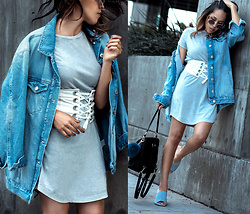 Francesca Felix - Zara Corset Belt, Forever 21 Denim Jacket, Urban Outfitters Shirt Dress, Jeffrey Campbell Mules - Laced up
