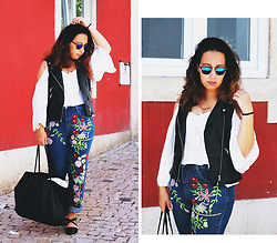 Mafalda M. - Zaful White From, Sammydress Floral Embroidered Jeans, Zara Faux Leather Vest - FLORAL EMBROIDERY FOR EASTER