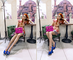 Irina Petrova - Centro Blue Shoes, Centro Neon Pink Bag, Centro Brown Belt - Turkish Delight